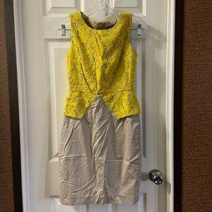 Antonio Melani Yellow/Tan Lace Detailed Dress 4